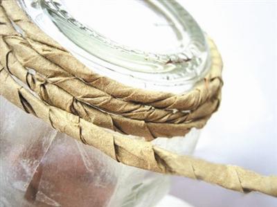 玻璃罐牛皮纸信封DIY 自制唯美田园花瓶