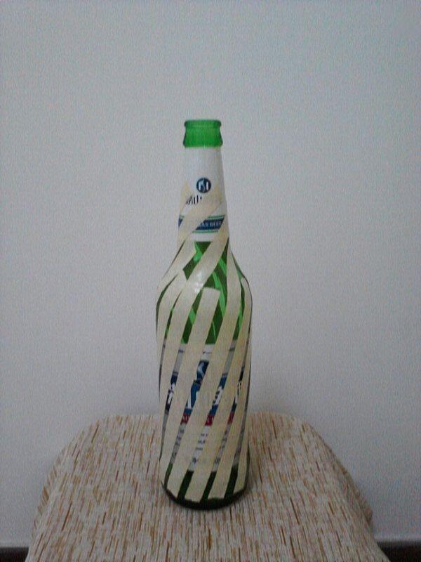 啤酒瓶废物利用 DIY田园风花瓶