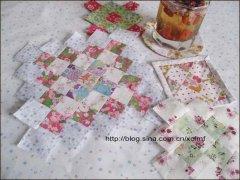 方块拼布杯垫拼缝制作教程