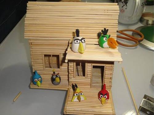 筷子diy手工制作图片 小木屋的制作方法