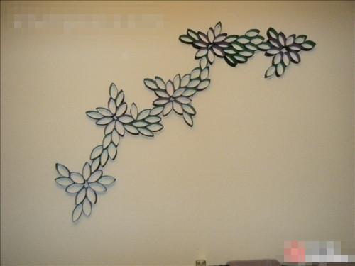 足不出户也可以饱览田园风光,卷纸芯打造花朵唯美装饰墙贴